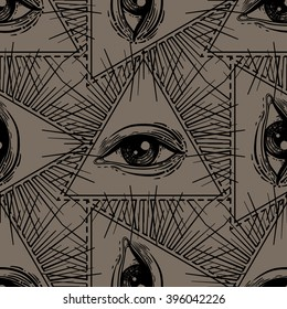 All-seeing eye seamless pattern. Hand drawn Eye symbol. Alchemy, religion, spirituality, occultism, wrapping and textiles art. Isolated vector illustration. Conspiracy theory.