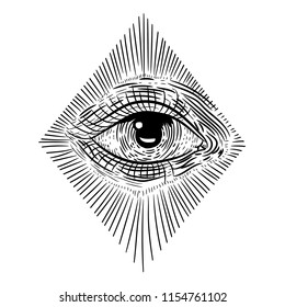 all-seeing eye . sketch for printing on clothes. vintage retro vintage style engraving. vector