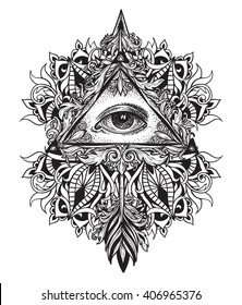 All-seeing eye as a symbol of the mystical science of alchemy and the sign of the Masons.. Arrow with feathers in dotwork style. Graphical tattoo patterned mandala. Baroque patterns