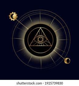 All-seeing eye in a triangle with sun and moon. Symbol of religion, spirituality, occultism. Vector illustration isolated on a dark background. Occult icon.