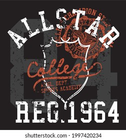 Art vectoriel design de la grappe Allstar college