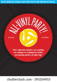 All-Vinyl Record Party Invitation with vector illustration of 45 rpm single and spindle adapter.
