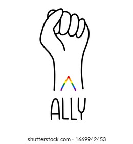 Ally rainbow symbol tattoo on the wrist of raised arm with pumping fist for a straight people supporting LGBT community banner, t-shirt iron on or print.