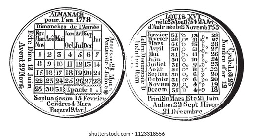 The Almanac Medal of 1778, vintage engraved illustration. Magasin Pittoresque 1858.