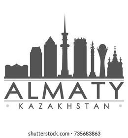 Almaty Kazakhstan Skyline Silhouette Design City Vector Art Famous Buildings