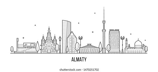 Almaty skyline, Kazakhstan. This illustration represents the city with its most notable buildings. Vector is fully editable, every object is holistic and movable