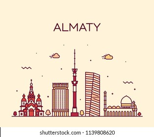 Almaty skyline, Kazakhstan. Trendy vector illustration, linear style