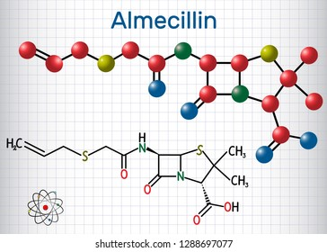 Almecillin (penicillin O) drug molecule. It is beta-lactam antibiotic. Structural chemical formula and molecule model. Sheet of paper in a cage. Vector illustration