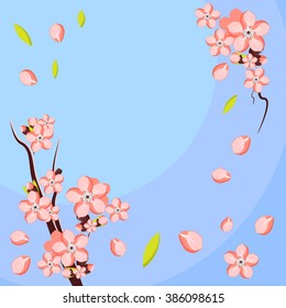 Almond or apricot branch in blossom. Template for greeting card and invitation. Vector illustration