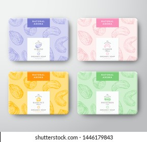 Almond, Cashew, Hazelnut and Pistachio Soap Cardboard Boxes Set. Abstract Vector Wrapped Paper Container with Label Cover. Packaging Design. Hand Drawn Nuts Background Pattern Layout. Isolated.