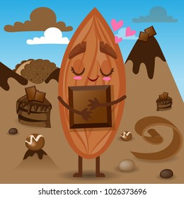 Almond Character with Chocolate Bar in Candy Sweet Land, Magic World, Cartoon Personage Hand Drawn Vector Illustration EPS 10
