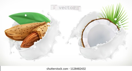 Almond, coconut and milk splash. 3d realistic vector