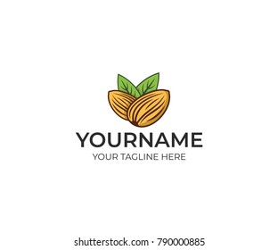 Almond colorful logo template. Plant vector design. Eco food illustration