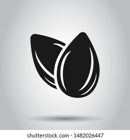 Almond icon in flat style. Bean vector illustration on isolated background. Nut business concept.