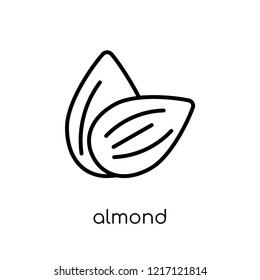 Almond icon. Trendy modern flat linear vector Almond icon on white background from thin line nature collection, editable outline stroke vector illustration
