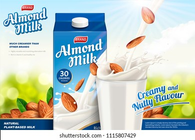 Almond milk ads with liquid pouring down into glass cup on the green glitter background, paper carton package in 3d illustration