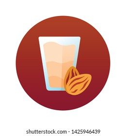 Almond milk flat color icon. Lactose free. Organic, natural drink. Vegan product sumbols. Healthy food sign. Button for web page, mobile app, banner. Isolated flat template. Vector illustration.