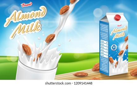 Almond milk glass with splash on wooden table with bokeh background. Milk products package design. Almond seed vector illustration ads