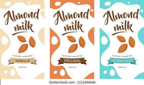 Almond milk illustration, design elements, package design concept