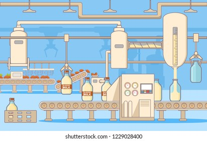 Almond Milk with nuts.Lactose free.Factory production processing.Conveyor belt.Automatic machines.Packs bottles glass.Flat vector.