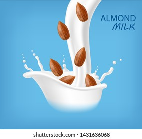 Almond milk realistic, organic milk, new product, fresh milk, splash milk, blue background vector illustration