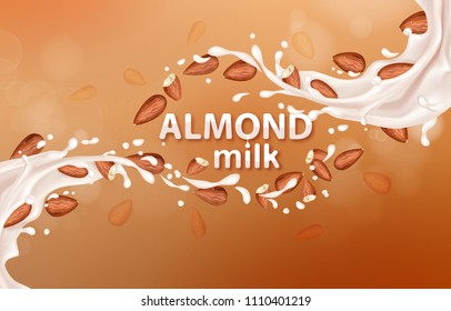 Almond milk. Realistic Milk splashes with almonds. Vector illustration for advertising or packaging cosmetics or dairy products.