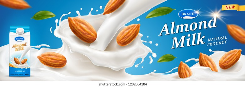 Almond milk splash with nuts for advertising or package branding on wrapper. Paper container for dairy near milkshake splash for pack design. Meal and vegan drink, nutrition and retail theme