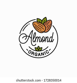 Almond nut logo. Round linear logo of almonds on white background