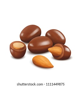 Almond nuts in chocolate. Chocolate covered almonds.