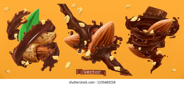 Almond nuts and chocolate splashes. 3d realistic vector