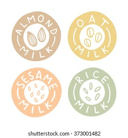 Almond, oat, sesame, rice milk labels. Vector hand drawn illustration