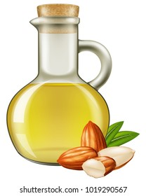 Almond oil in a jar with almond nuts. Vector illustration.