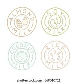 Almond, soy, coconut, rice milk badges. Vector hand drawn illustration