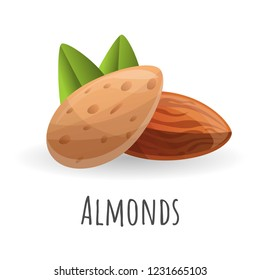 Almonds icon. Cartoon of almonds vector icon for web design isolated on white background