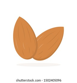 Almonds icon with shadow flat style