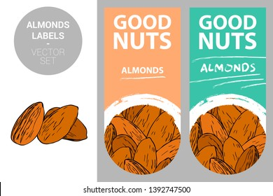 Almonds product labels in pastel colors with nut texture and brush stroke drawn creative design elements. Almond nuts isolated on white background. Nut badges ready for web, print.