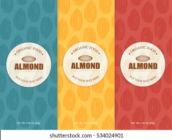 almonds set template - vector design elements and pattern for chocolate packaging, label, banner, poster, identity, branding. background in linear style.