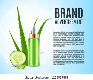 Aloe and cucumber. Cosmetic ads template. 3d illustration. EPS10 vector