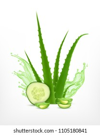Aloe and cucumber. Vector icon. EPS10