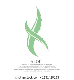 Aloe leaves vector logo.Abstract sign with natural elements forming the X letter or the DNA stylized symbol.Green logo isolated on light background.