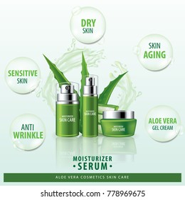 Aloe vera collagen vitamin skin care cream , serum banner vector illustration