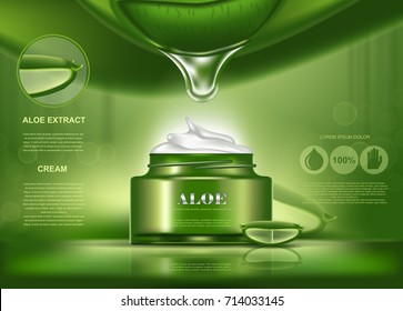 Aloe vera cosmetic bottle for perfume or body care. Realistic product for skin health and beauty, herb treatment as aloe extract in plastic container. Spa and shower liquid advertising,medicine lotion