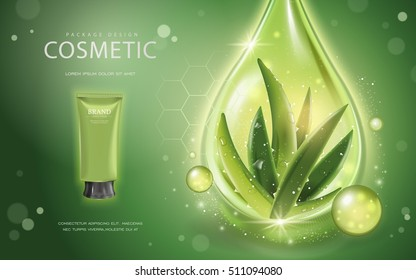 Aloe vera cosmetic template, 3D illustration cosmetic mockup with ingredients aloe vera and sparkling oil drop on the green background