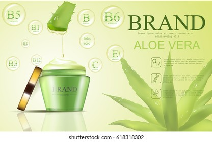 Aloe vera cosmetic template, vector realistic illustration cosmetic container with ingredients aloe vera in the water drop