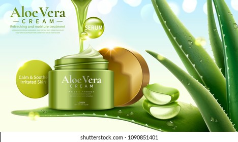 Aloe Vera cream on refreshing succulent leaves in 3d illustration, glitter bokeh background