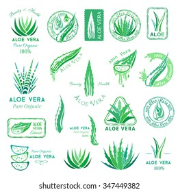 Aloe vera design elements. Emblems, stamps and badges. Stencil style.