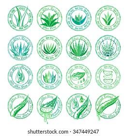 Aloe vera design elements. Stamps set. Stencil style.