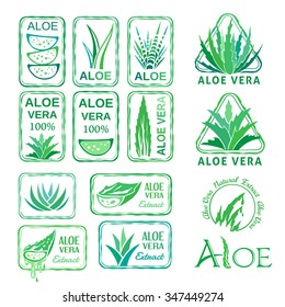 Aloe vera design elements. Stamps collection. Stencil style.