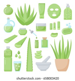 Aloe vera flat vector icons set, big set of design healthcare and cosmetology objects isolated on the white background, vector illustration