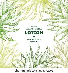 Aloe vera frame. Botanical design template. Engraved style. Vector illustration